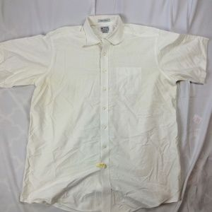 Mens 17.5 37 LL Bean Dress Shirt White Button Fron